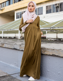 Casual Pleated Maxi Dress in Olive