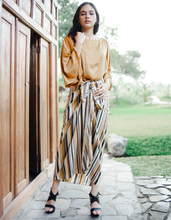 Load image into Gallery viewer, Hana Striped Kaftan Wrap in Gold-Yellow - Fits till L