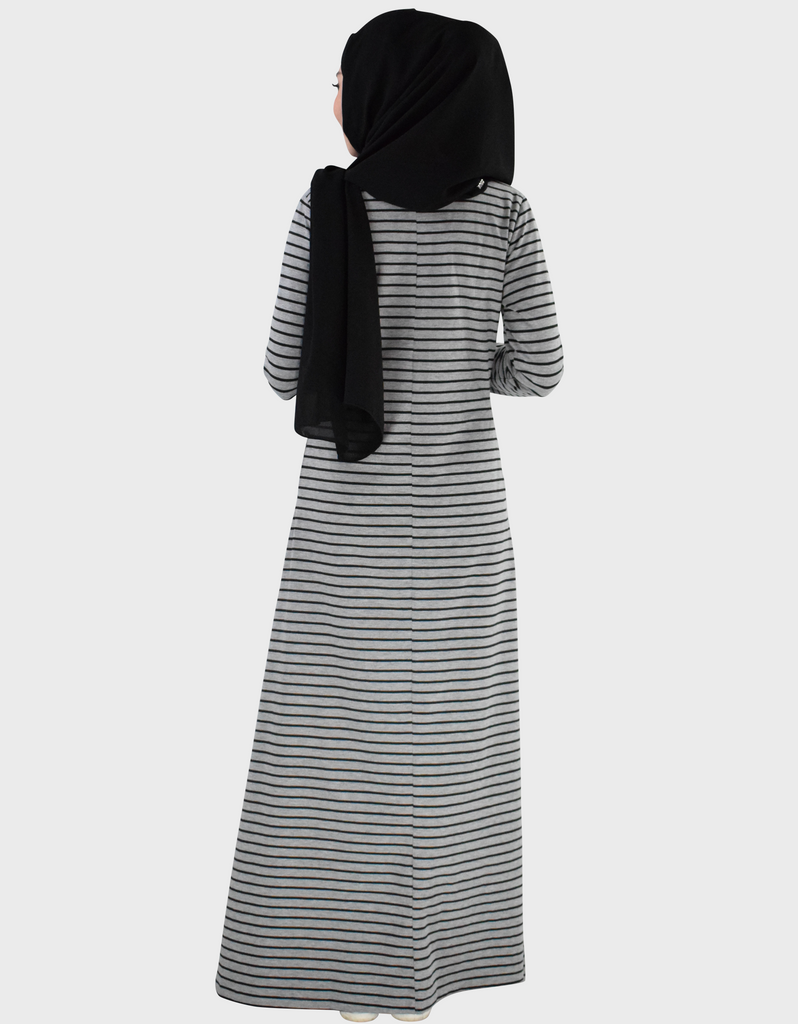 Striped Maxi Dress in Grey