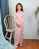 Gingham Kurung Kedah in Light Beige for Kids
