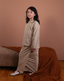 Basic Kurung Kedah in Dark Khaki for Kids