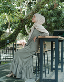 Ruffled Hem Maxi in Light Army