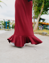 Load image into Gallery viewer, Ribbed Ruffled Maxi Dress in Maroon
