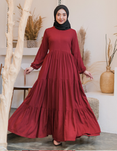 Load image into Gallery viewer, Tiered Dress in Maroon - Size S/130cm