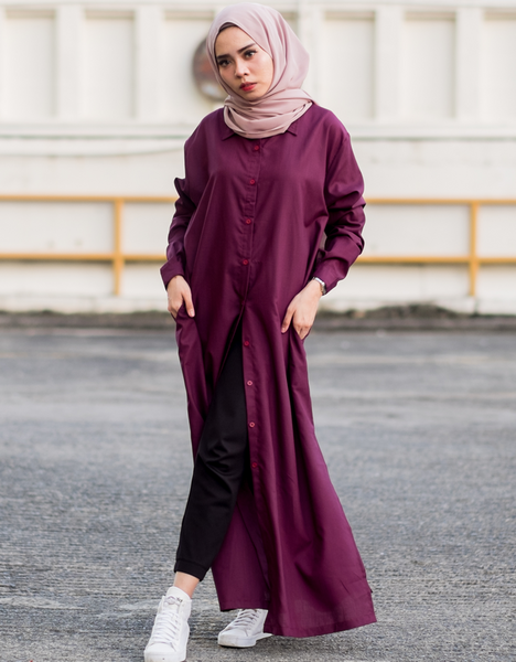 Maxi Cotton Shirt Dress in Burgundy