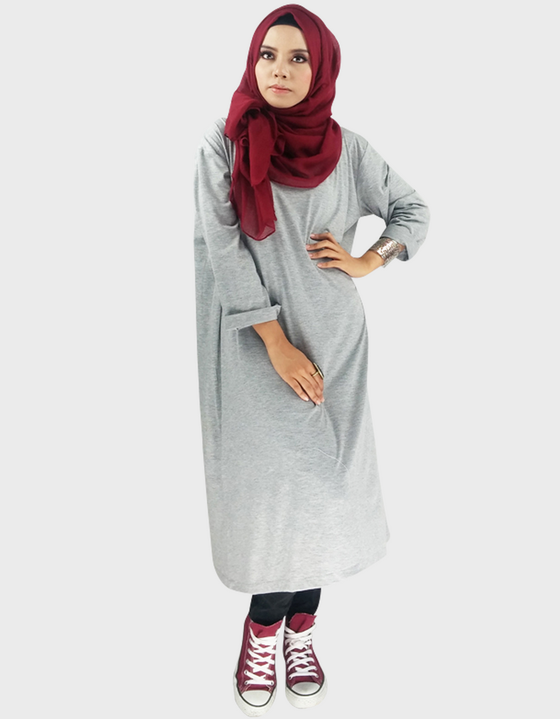 Midi Dress in Misty Grey