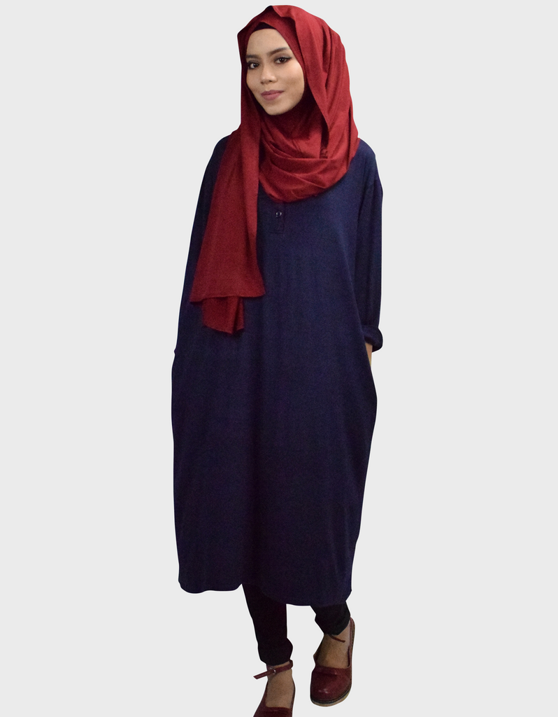 Midi Dress in Navy Blue