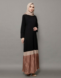 Mix Pleated Maxi Dress in Black/Rose Gold