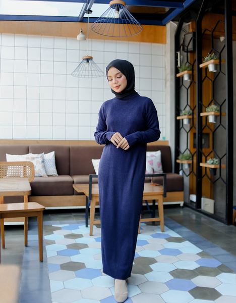 Soft Knitted Maxi Dress in Navy