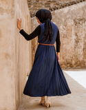 Sleeveless Pleated Maxi Dress in Navy (SALE)