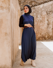 Load image into Gallery viewer, Sleeveless Pleated Maxi Dress in Navy (SALE)