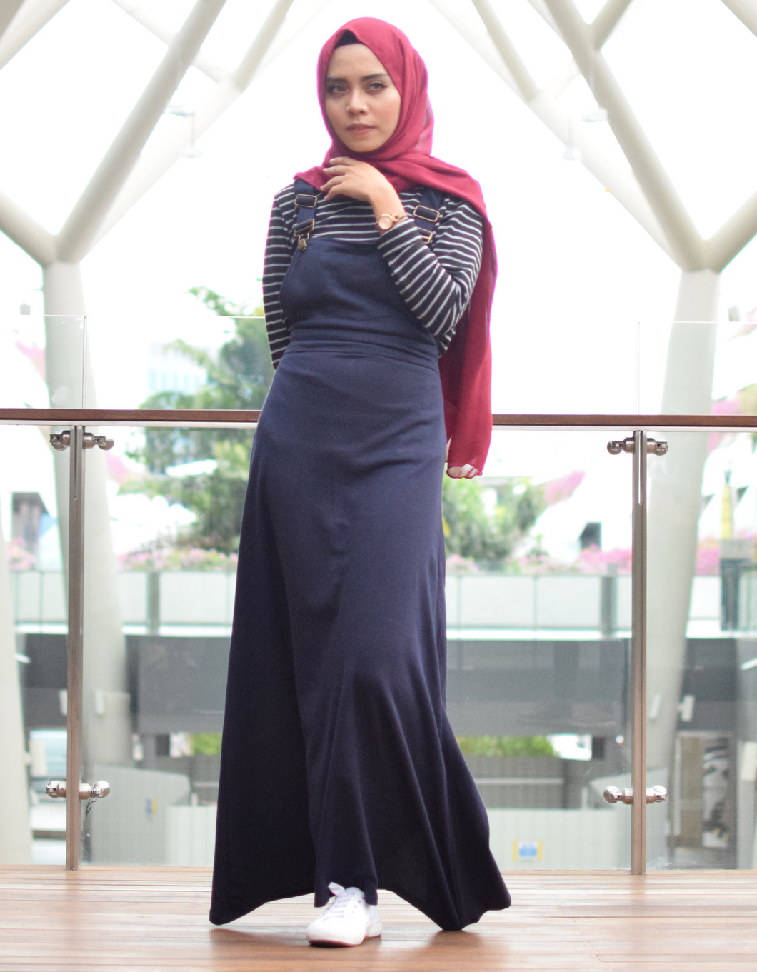 Pinafore Maxi Dress in Navy Blue - Petite, free and plus size