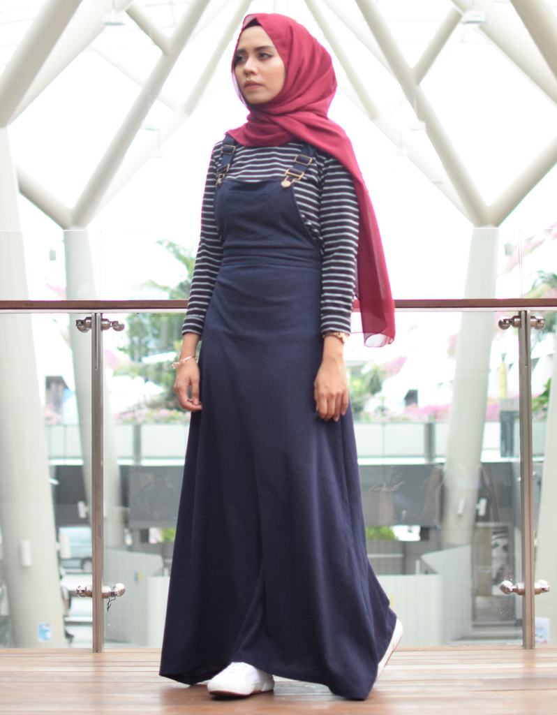 Pinafore Maxi Dress in Navy Blue