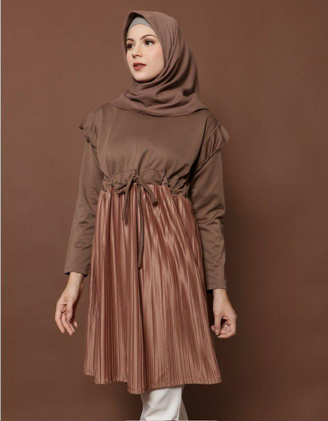 Pleated Tunic in Mocha/Rose Gold