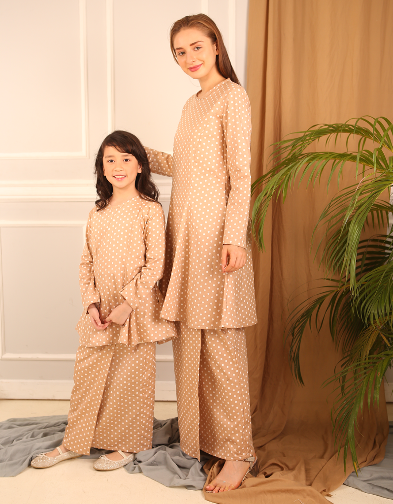 Princess Polka Dot Kurung in Beige for Kids