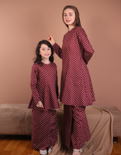 Load image into Gallery viewer, Princess Polka Dot Kurung in Red Wine - Size S