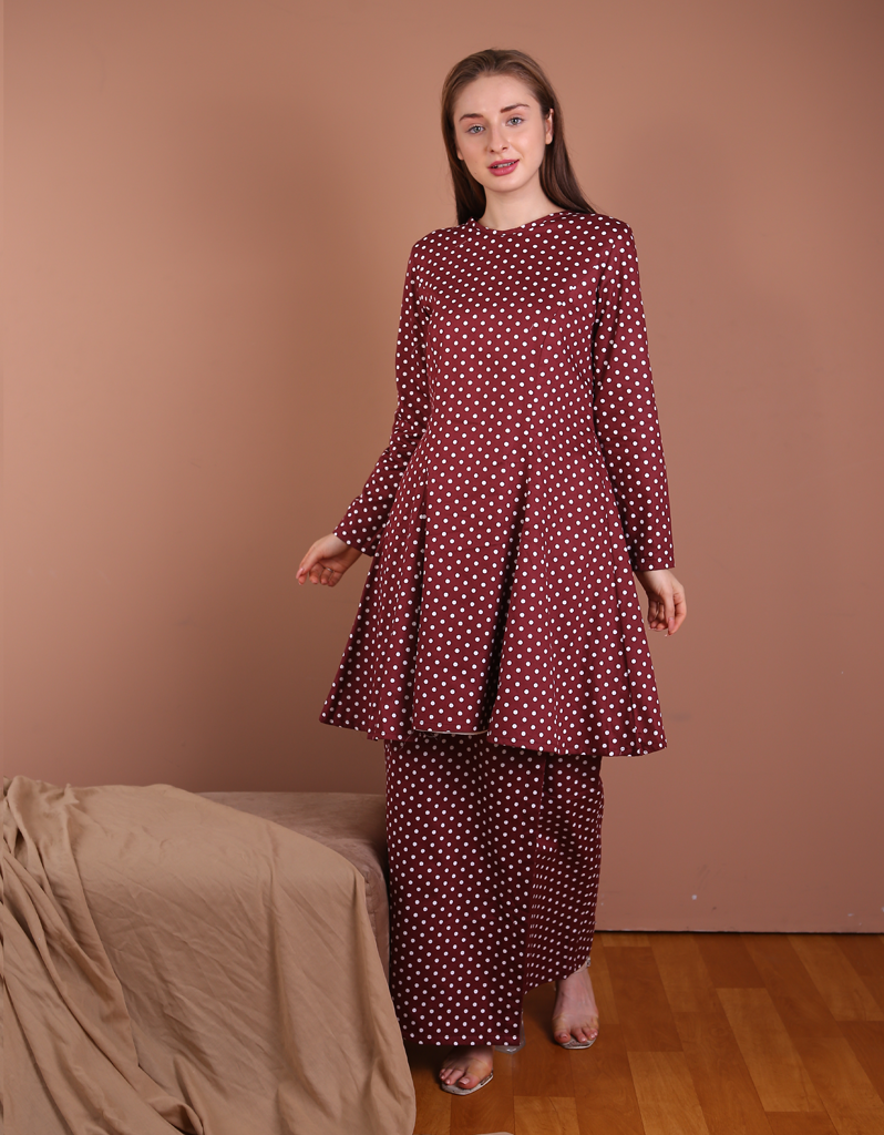 Princess Polka Dot Kurung in Red Wine - Size S