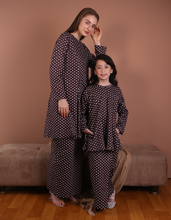 Load image into Gallery viewer, Princess Polka Dot Kurung in Chocolate Brown for Kids