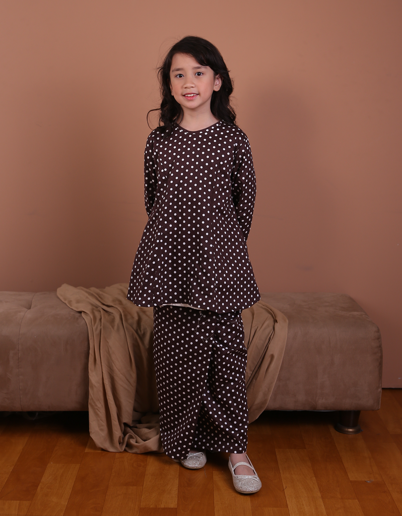 Princess Polka Dot Kurung in Chocolate Brown for Kids