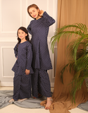 Princess Polka Dot Kurung in Navy for Kids