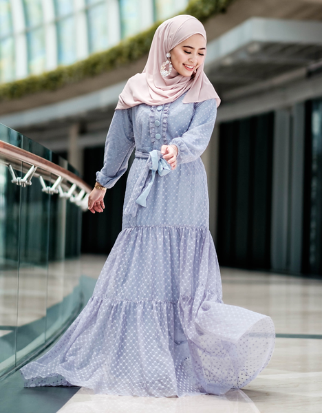 Tulle Maxi Dress in Purple Grey