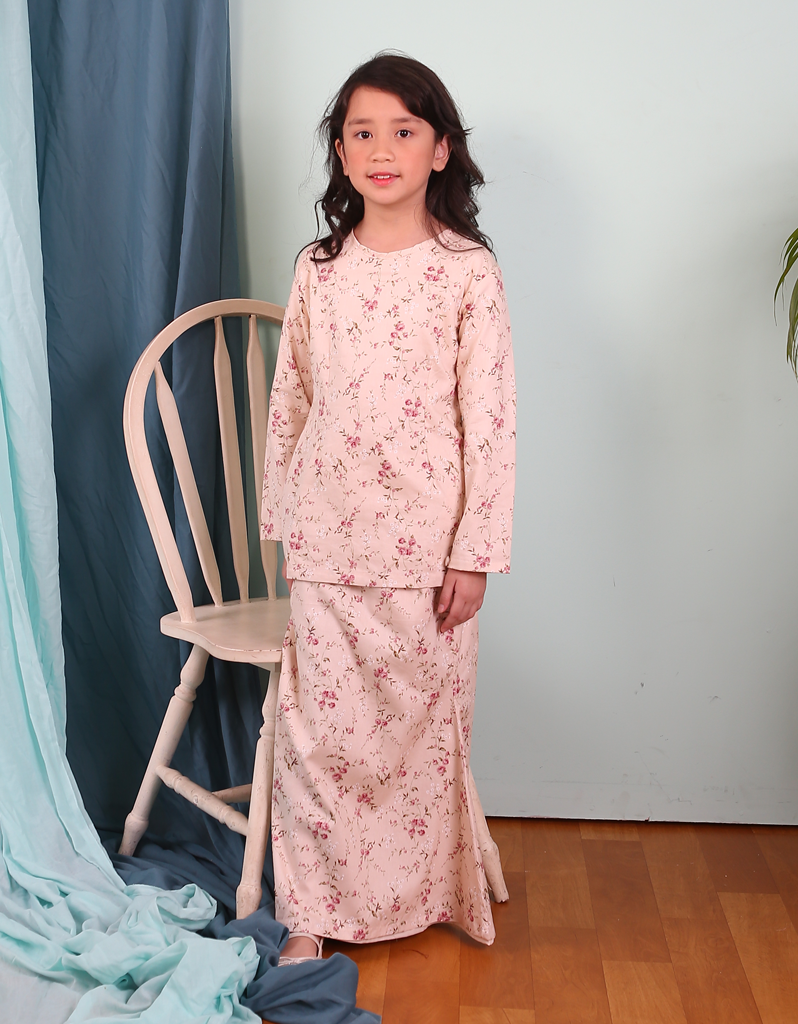 Modern Kurung Sweet Rosaleen in Cream for Kids