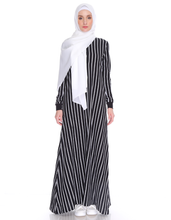 Load image into Gallery viewer, Varsity Striped Maxi in Black - Plus size