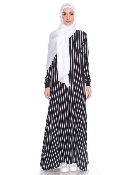 Varsity Striped Maxi in Black