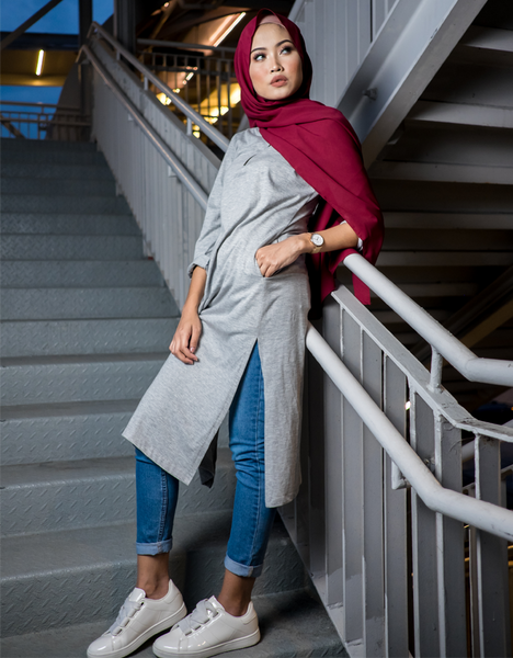 Side Slit Tunic in Light Grey (4XL, 5XL, 6XL)