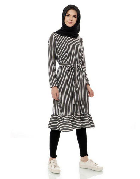 Striped Ruffled Midi Tunic in Black