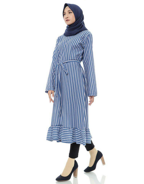 Striped Ruffled Midi Tunic in Navy