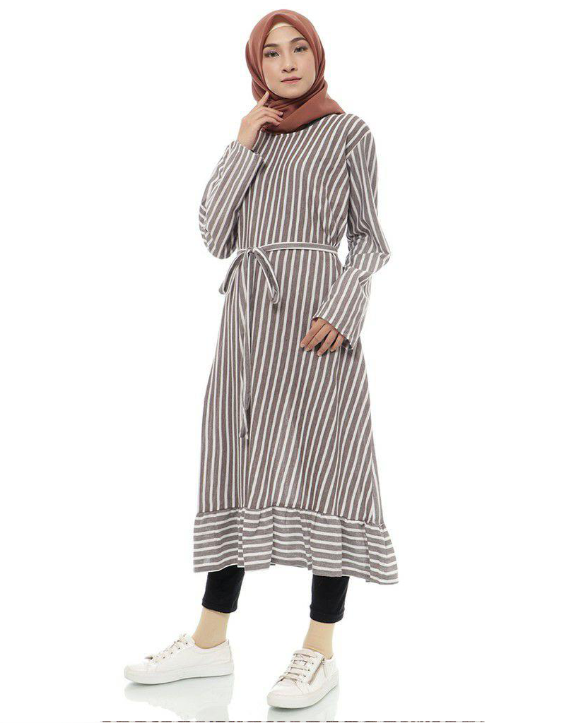 Striped Ruffled Midi Tunic in Mocha (SALE)