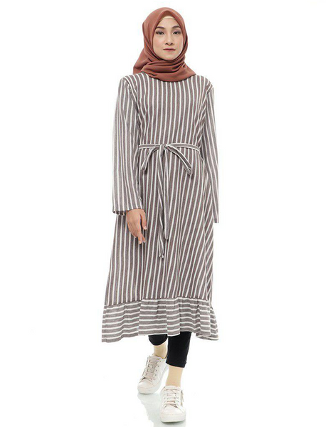 Striped Ruffled Midi Tunic in Mocha