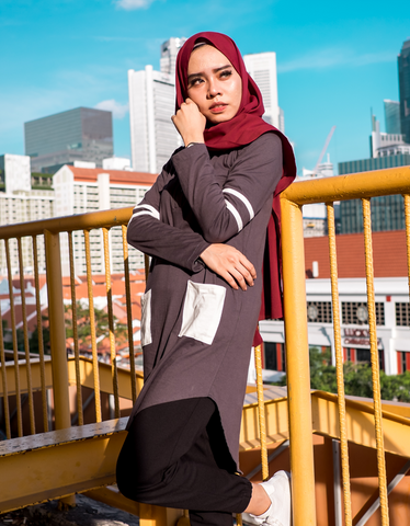 Pre-Order: Varsity Contrast Maxi Dress in Dark Grey