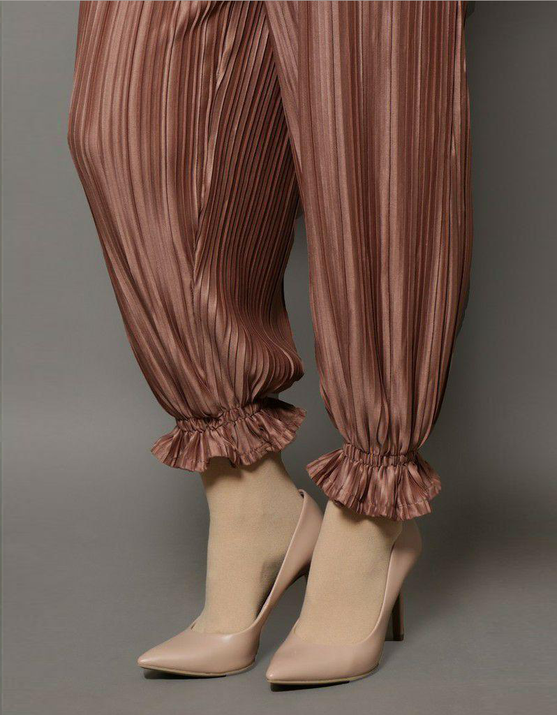 Wrinkled Pleated Pants in Rose Gold (SALE)