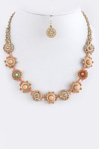 Antique Star Ornate Necklace Set, Peach and Gold