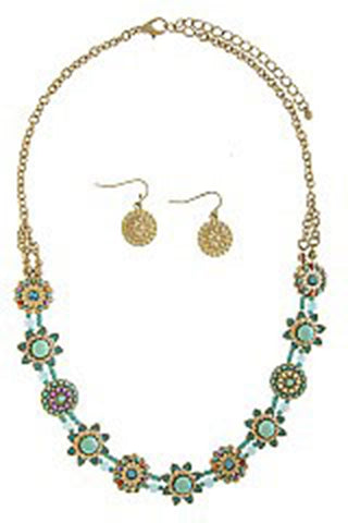 Antique Star Ornate Necklace Set in Turquoise