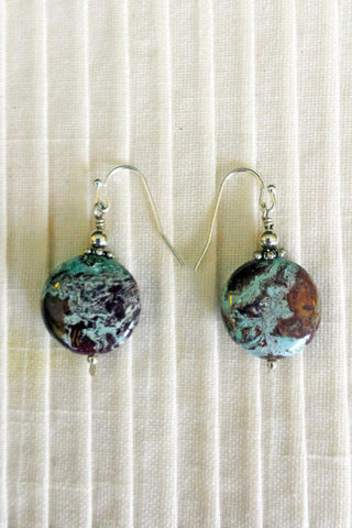 Brown and Blue Round Stone Earrings