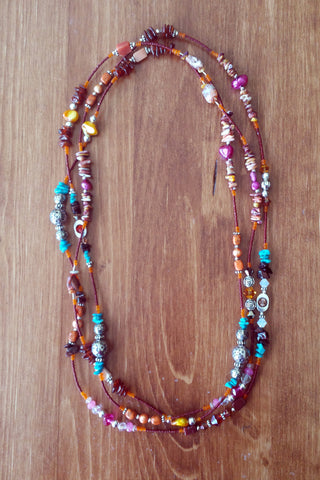 Burnt Orange and Turquoise Beaded Necklace