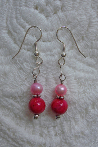 Pink and Rose Drop Earrings