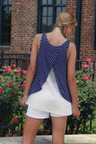 Blue Monday Top, Navy and White