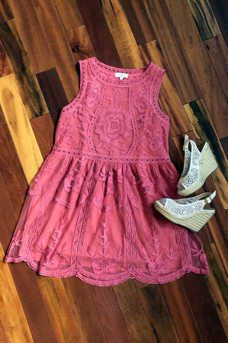 Always in My Heart Lace Dress, Salmon