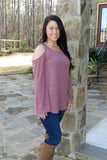 Cold Shoulder Top, Berry