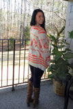Beige and Coral Cardigan