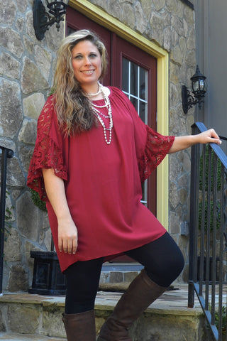 Piece Of My Heart Top, Burgundy
