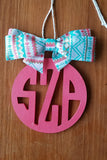 Round Block Letter Personalized Car Charm and Door Hanger