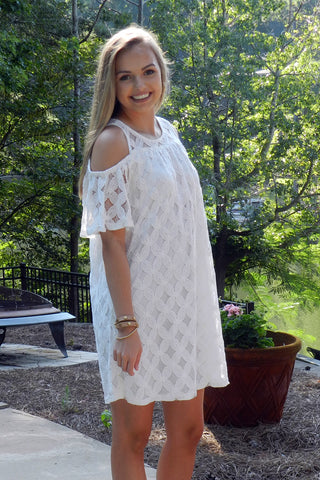Cold Shoulder Lace Dress, White