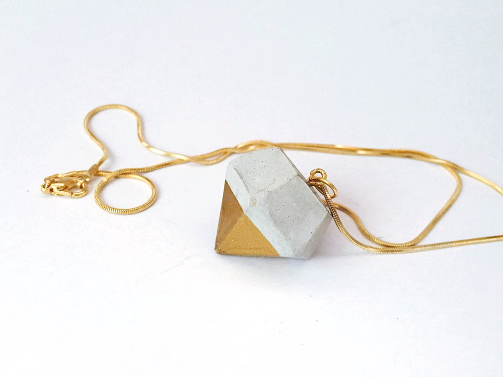 Concrete Diamond Gold-dipped Necklace