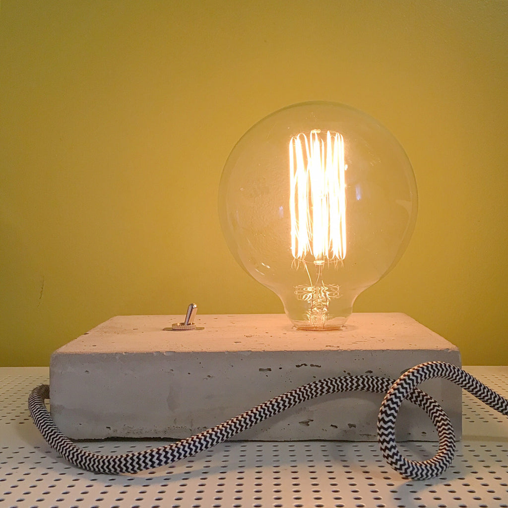 "Short Stack Rectangular Concrete Lamp - 5"" Globe Bulb"