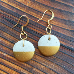 Golden Sun Round Concrete Earrings